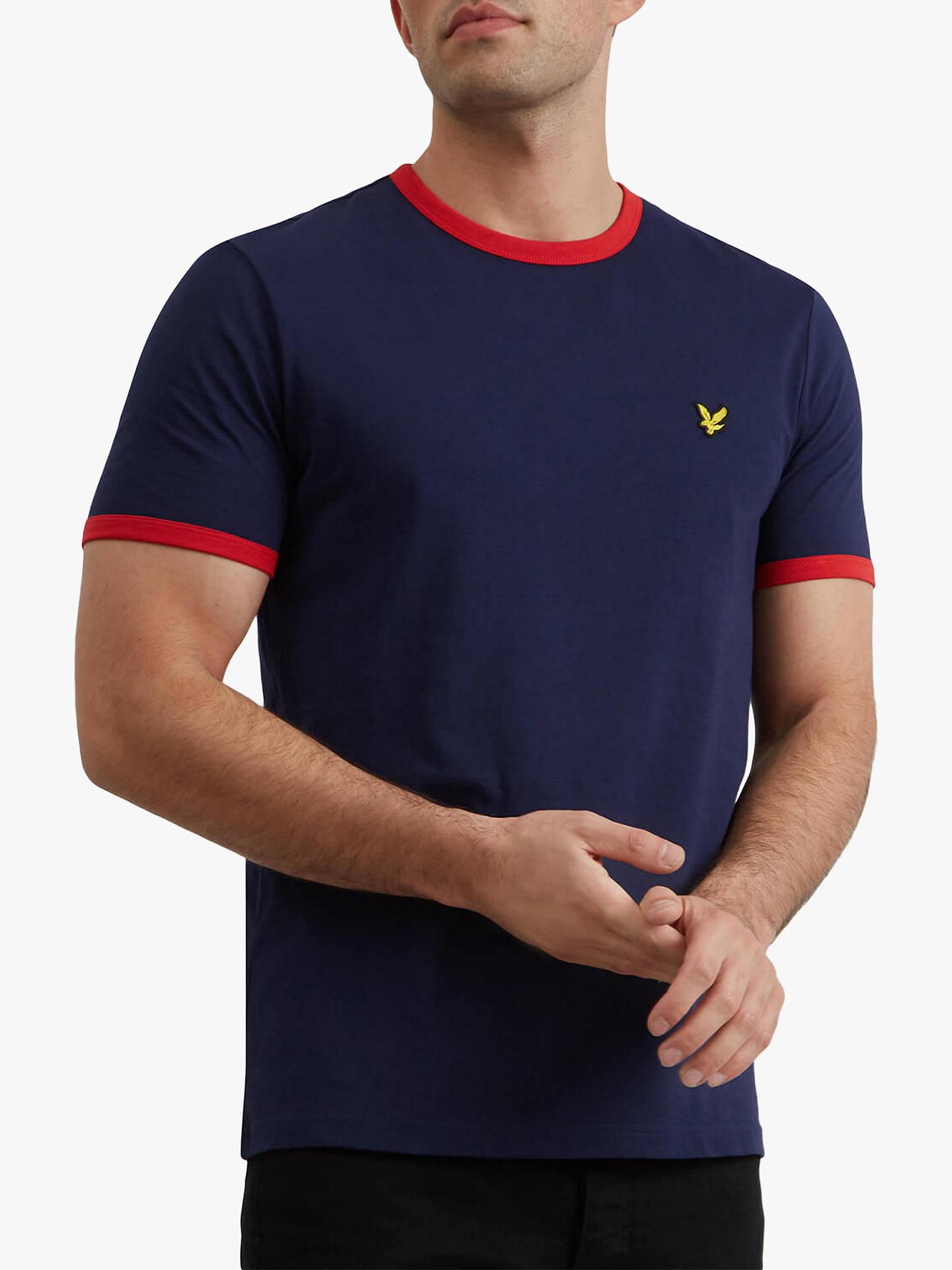 Lyle /& Scott Crew Neck Ringer T-shirt Plain Crew Neck Cotton Tee Navy Blue Top