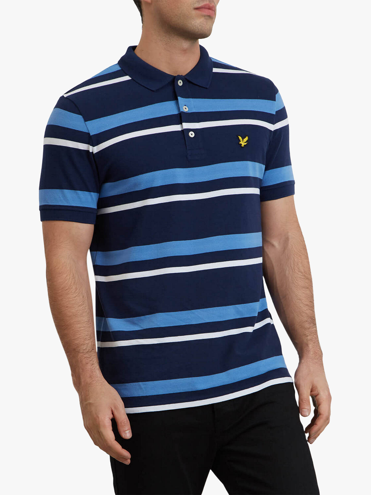 01cd7a18 Buy Lyle & Scott Short Sleeve Stripe Polo Shirt, Navy, M Online at  johnlewis ...