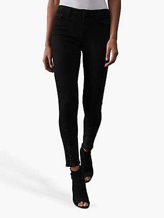 Reiss Lux Embellished Skinny Fit Jeans, Black