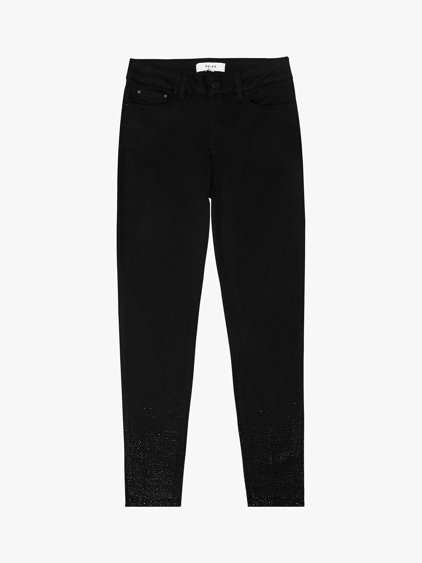 Buy Reiss Lux Embellished Skinny Fit Jeans, Black, 32 Online at johnlewis.com