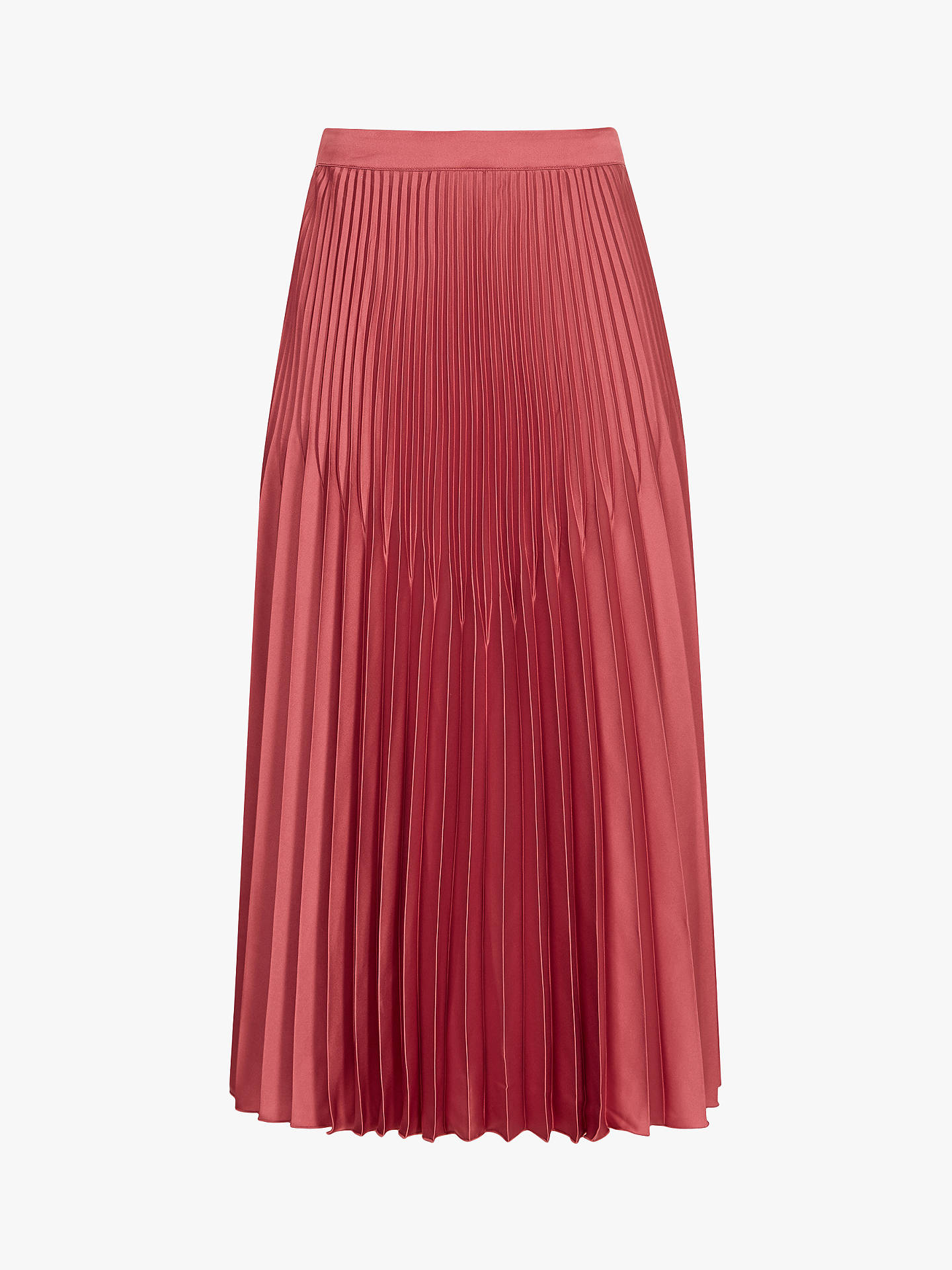 BuyReiss Isidora Metallic Knife Pleat Midi Skirt, Deep Blush, 14 Online at johnlewis.com