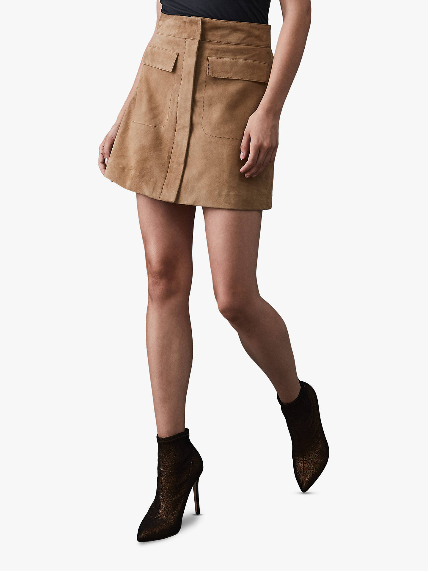 BuyReiss Leah Zip Front Suede Mini Skirt, Stone, 6 Online at johnlewis.com