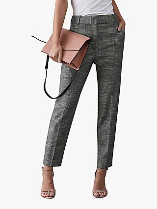Reiss Issa Checked Tailored Trousers, Grey