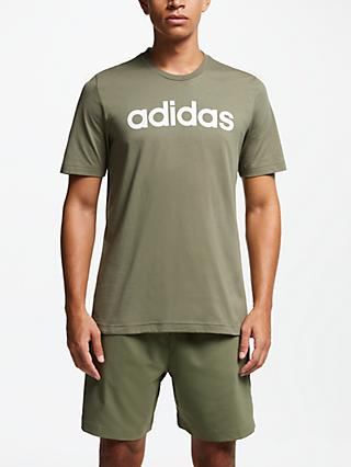 adidas Essentials Linear Logo T-Shirt, Raw Khaki/White