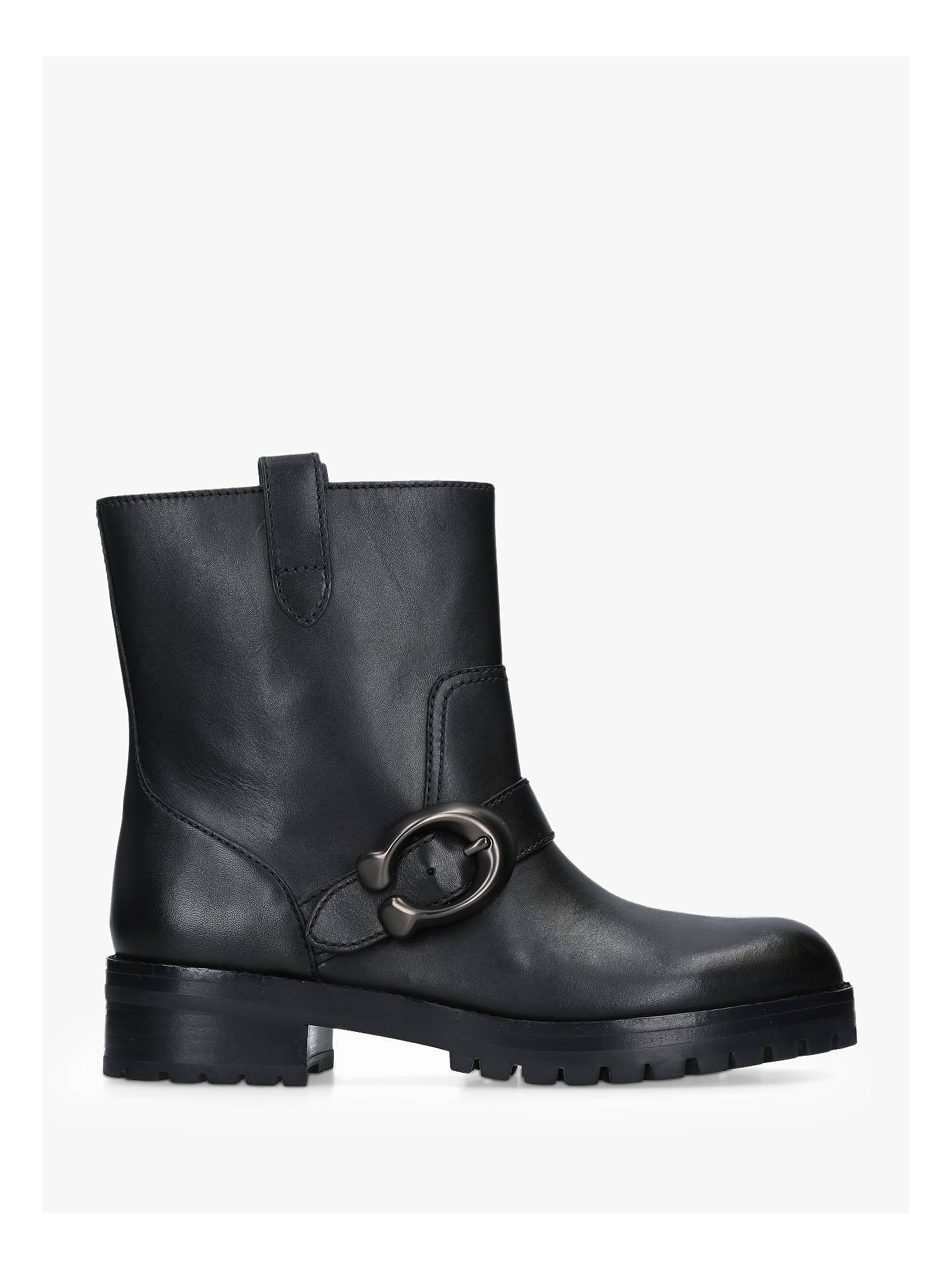 9d9bd24b391 Coach Leighton C Buckle Ankle Boots, Black Leather at John Lewis ...