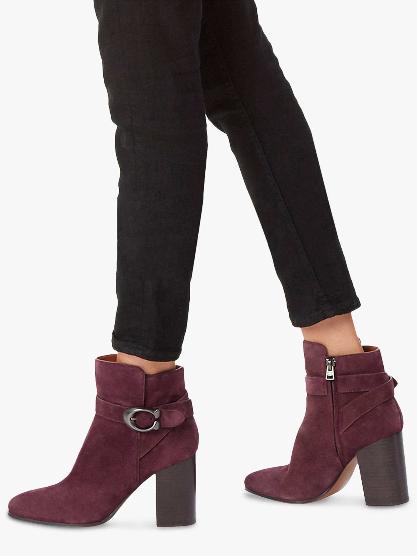 Coach Delaney Buckle Block Heel Ankle Boots at John Lewis