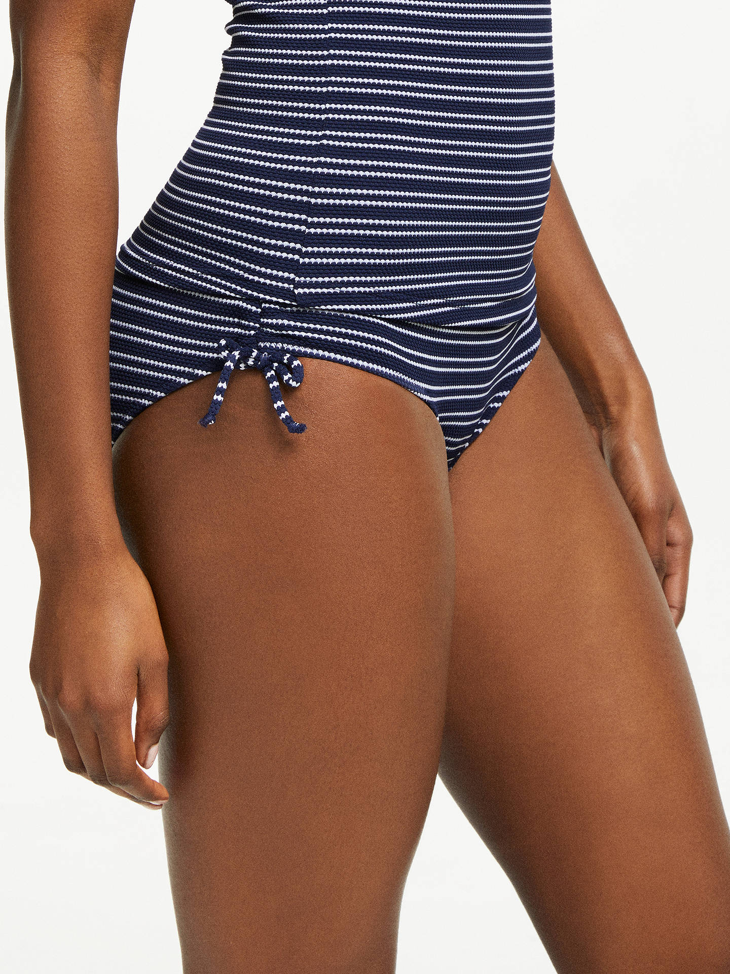 Buy John Lewis & Partners Textured Stripe Ruched Bikini Shorts, Navy/White, 16 Online at johnlewis.com