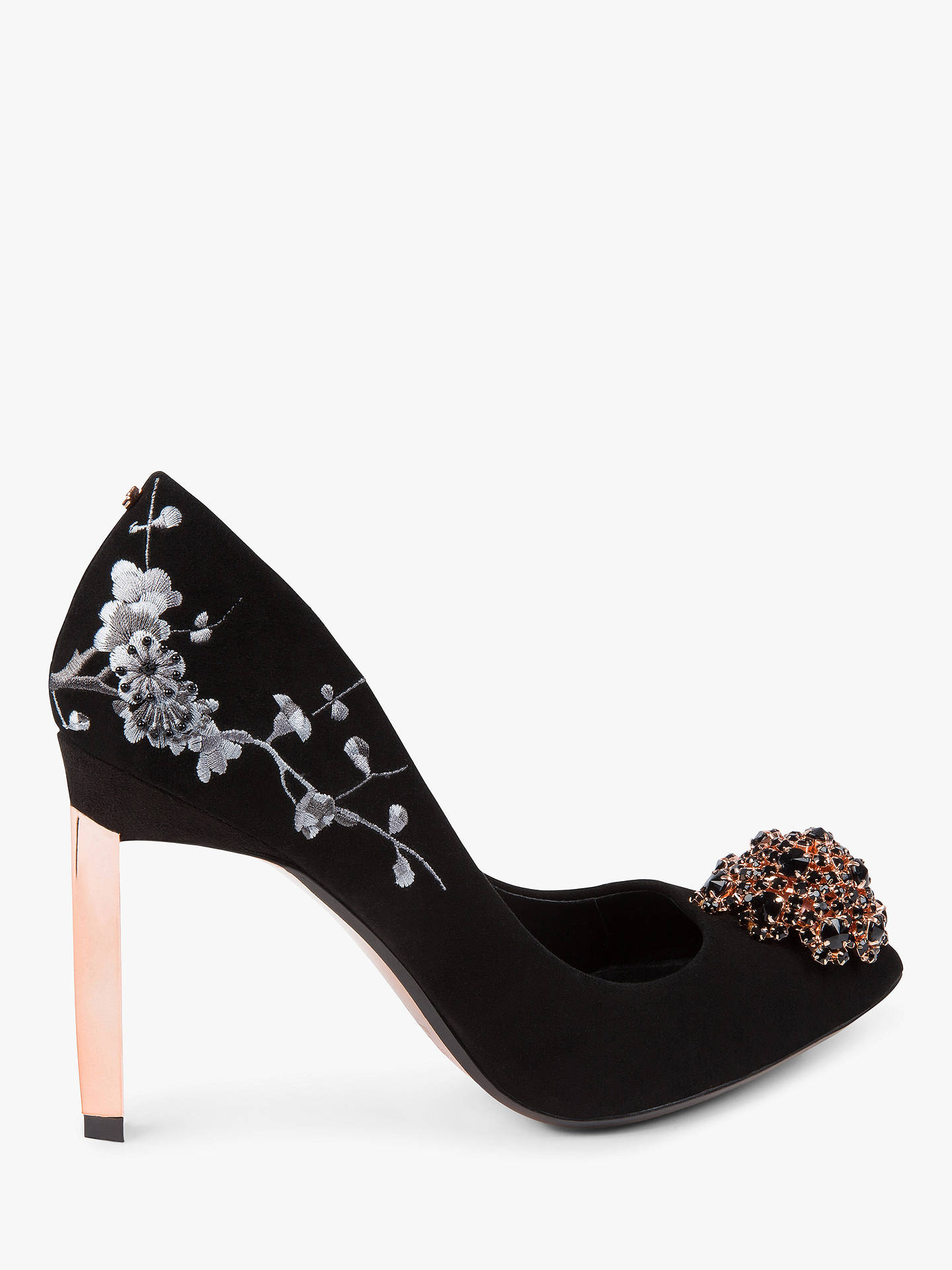 BuyTed Baker Peetche Embellished Court Shoes, Black Suede, 6 Online at johnlewis.com