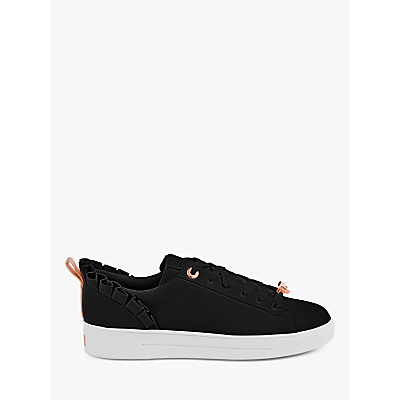 Ted Baker Astrina Leather Ruffle Trim Trainers, Black