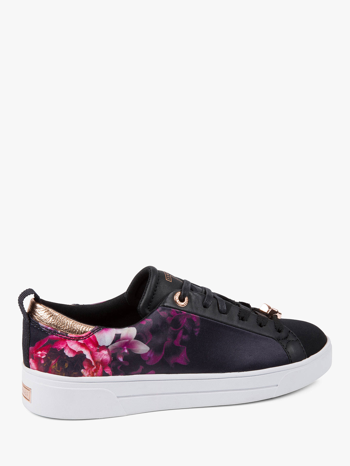 Buy Ted Baker Jymina Floral Lace Up Trainers, Black/Multi, 3 Online at johnlewis.com