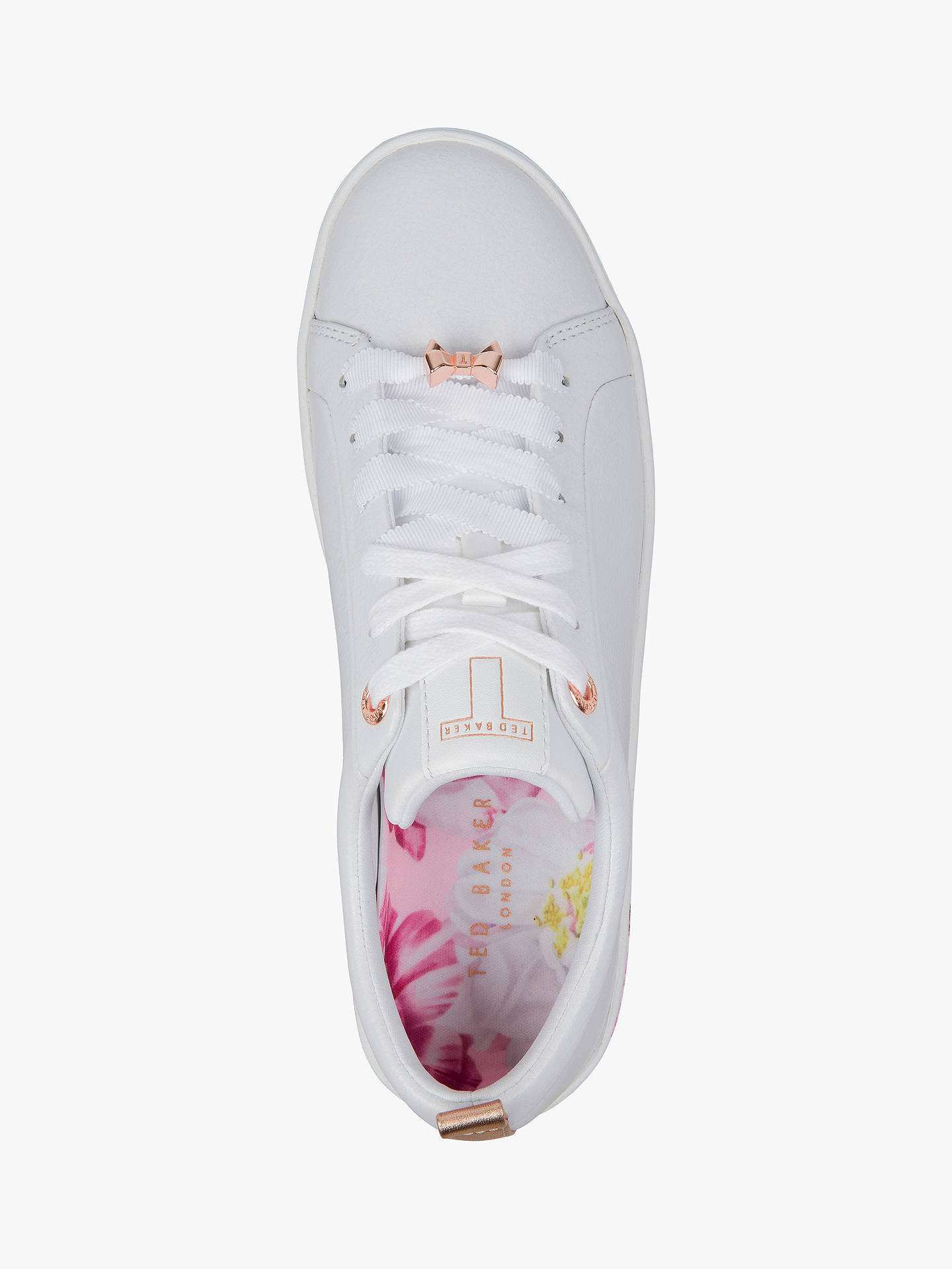 Buy Ted Baker Luoci Low Top Trainers, White Leather, 7 Online at johnlewis.com