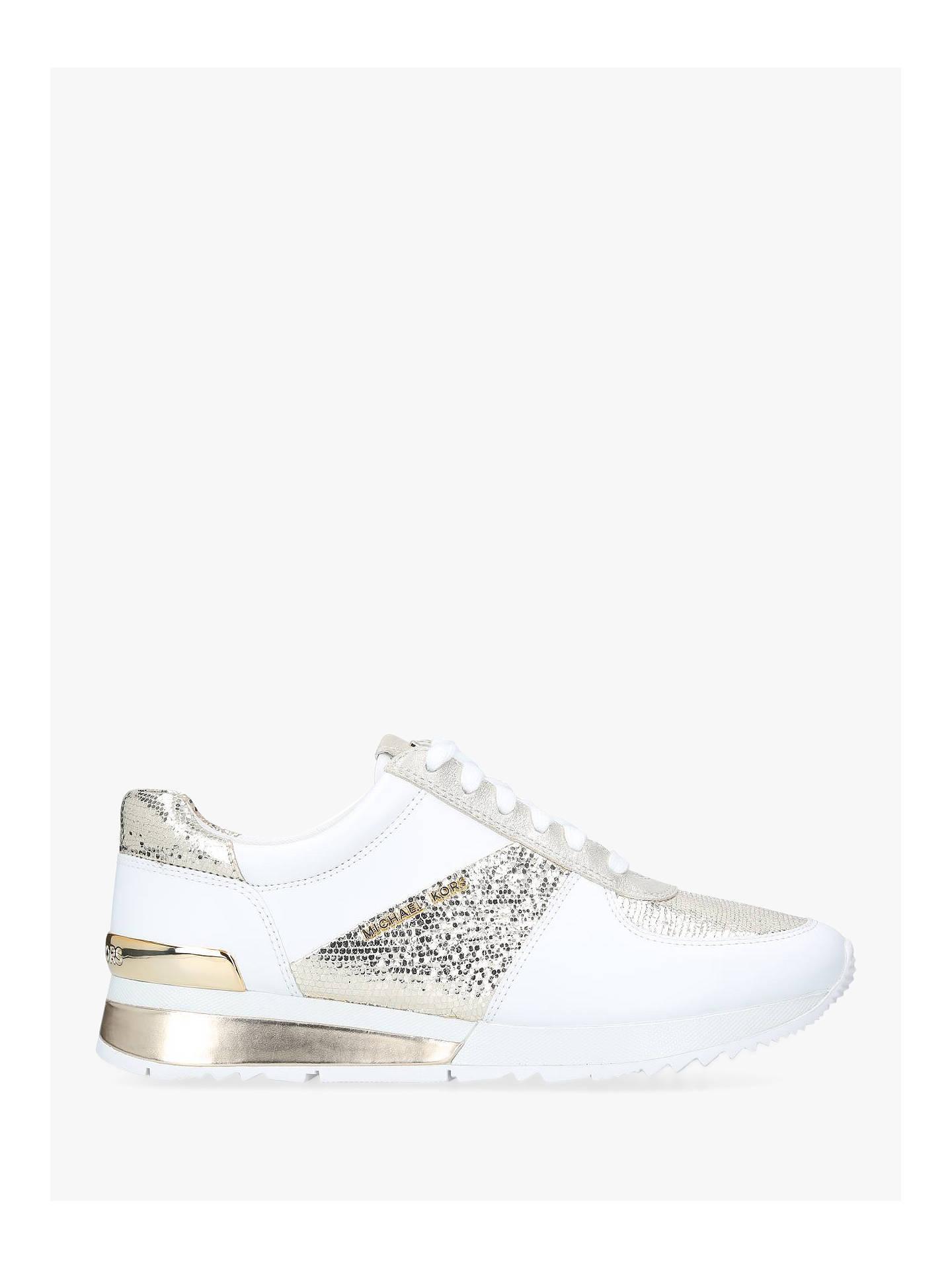 70032eafa3dea Buy MICHAEL Michael Kors Allie Wrap Lace Up Trainers, White/Gold Leather, 5  ...