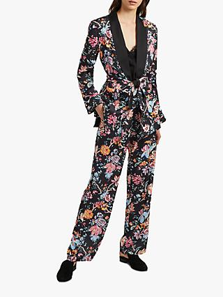 French Connection Floral Satin Jacket, Multi/Black