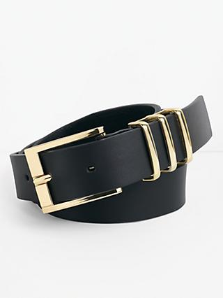 hush Oriel Leather Belt, Black