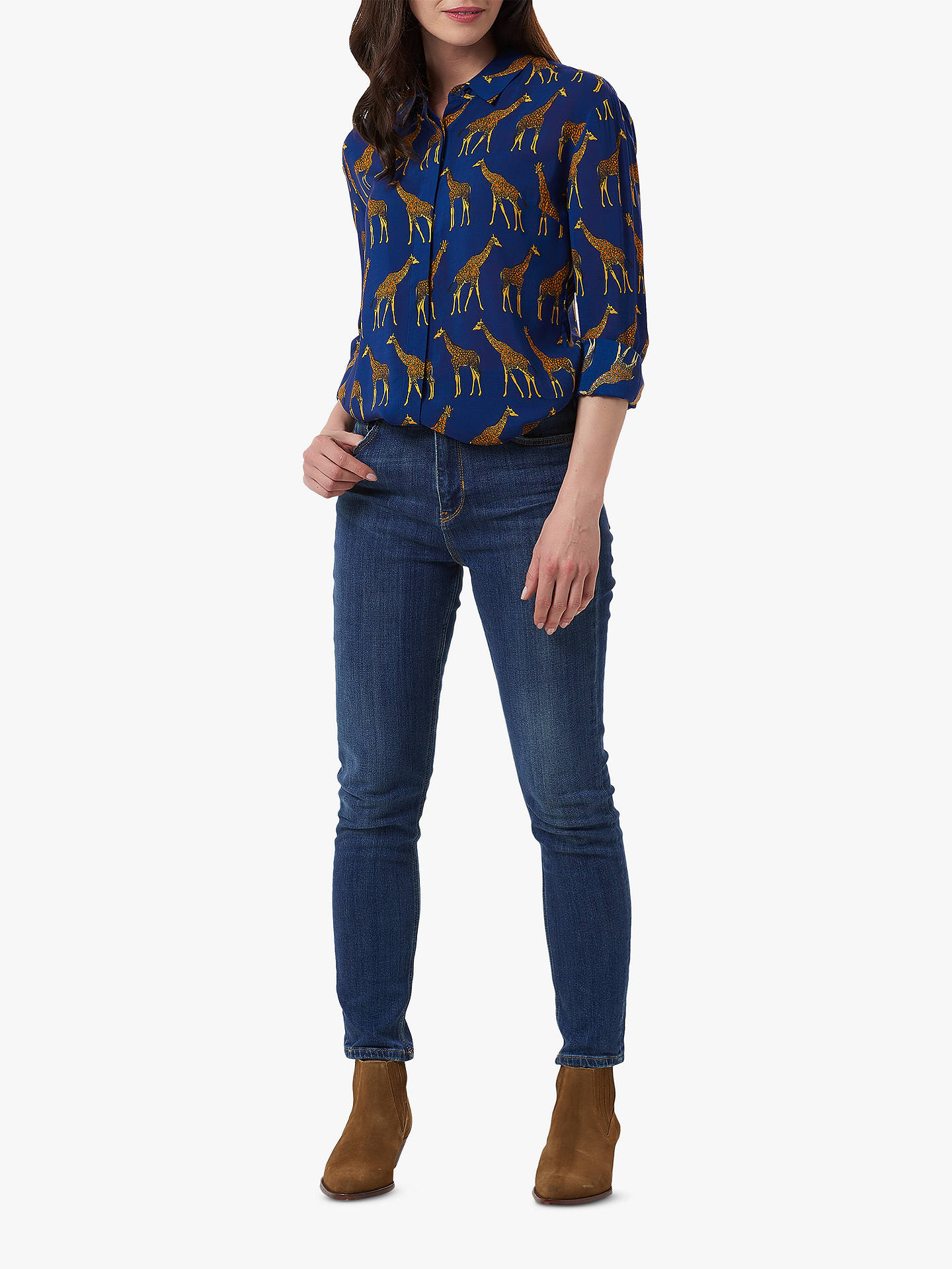 Buy Sugarhill Brighton Joy Giraffe Print Shirt, Navy, 8 Online at johnlewis.com
