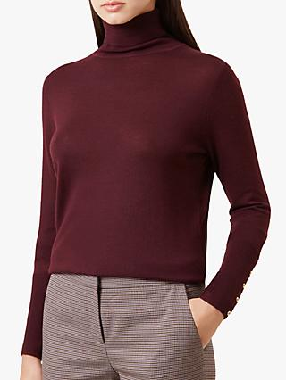 Hobbs Lara Roll Neck Jumper, Bordeaux