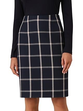 Hobbs Nora Check Skirt, Navy Blonde