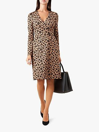 Hobbs Delilah Wrap Animal Print Dress, Multi