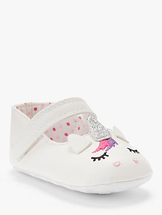 John Lewis & Partners Baby Unicorn Shoes, White