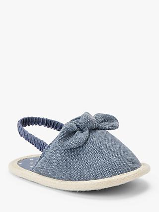 John Lewis & Partners Baby Bow Espadrille Sandals, Blue