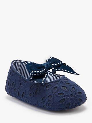 John Lewis & Partners Baby Broderie Floral Shoes, Navy