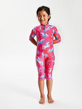 John Lewis & Partners Girls' Unicorn Print UV SunPro Suit, Pink