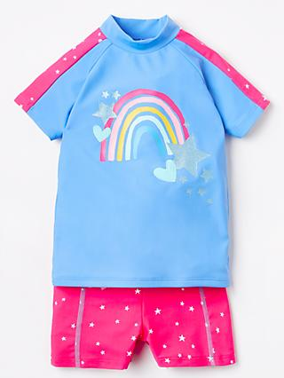 John Lewis & Partners Girls' Rainbow Rash Vest and Shorts Set, Blue/Pink