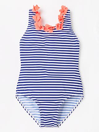 John Lewis & Partners Girls' 3D Floral Stripe Swimsuit, Multi