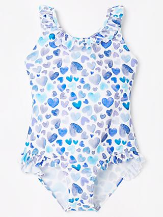 John Lewis & Partners Girls' Heart Print Swimsuit, Blue