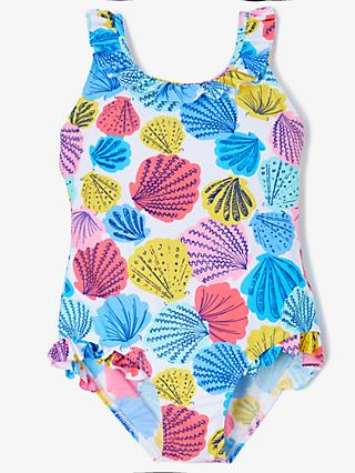 John Lewis & Partners Girls' Shell Print Swimsuit, Blue/Multi