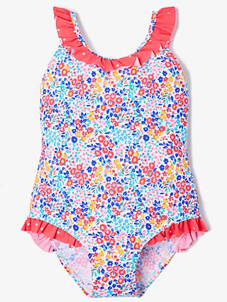 John Lewis & Partners Girls' Summer Floral Swimsuit, Blue/Multi