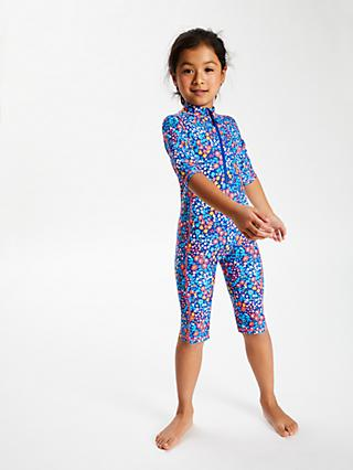 John Lewis & Partners Girls' Floral Print UV SunPro Suit, Blue