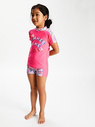 52083b7cd2 John Lewis & Partners Girls' Summer Time Print Rash Vest and Shorts ...