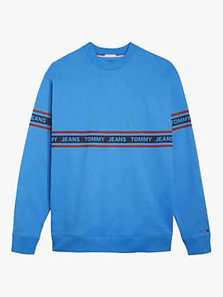Tommy Jeans Tape Logo Sweatshirt, Brilliant Blue