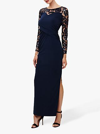 Phase Eight Daniela Embroidered Maxi Dress, Navy