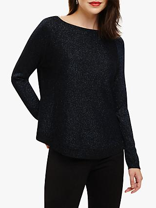 Phase Eight Shimmer Terza Knit Jumper, Kingfisher Blue
