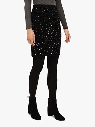 Phase Eight Simone Bejewelled Knit Skirt, Black