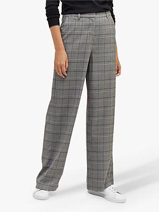 Warehouse Wide Leg Check Trousers, Multi