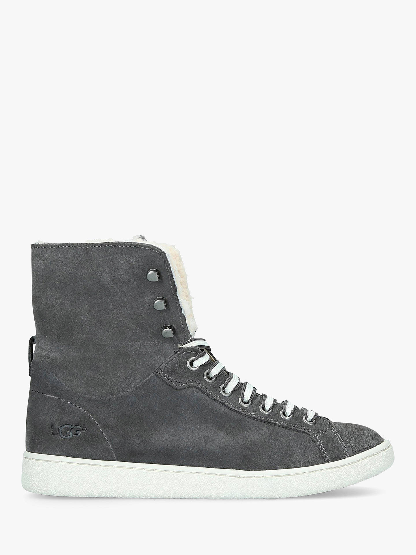 2fd087006a8 UGG Starlyn Sheepskin High Top Trainers, Mid Grey Suede at John ...