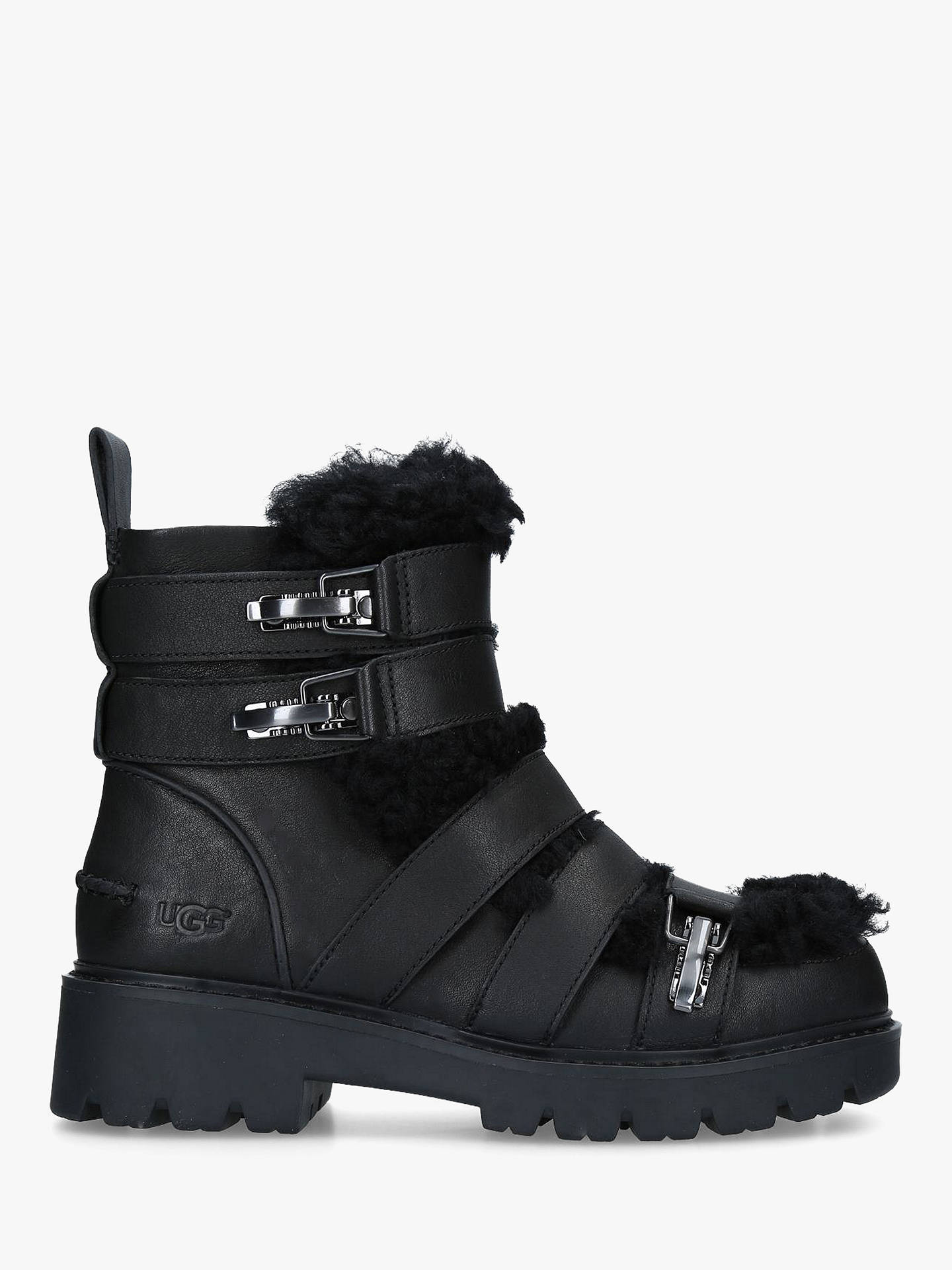 b8ccc51fb8c UGG Brix Strap Detail Ankle Boots, Black Leather at John Lewis ...