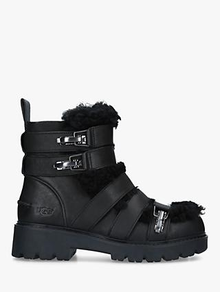 UGG Brix Strap Detail Ankle Boots, Black Leather