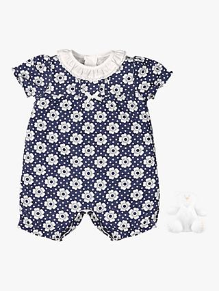 fd0ebf68d Emile et Rose Primrose Romper and Teddy Bear Set, Navy/White
