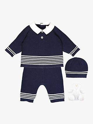 Emile et Rose Baby Peter Stripe Top, Bottoms, Hat and Teddy Bear Set, Navy
