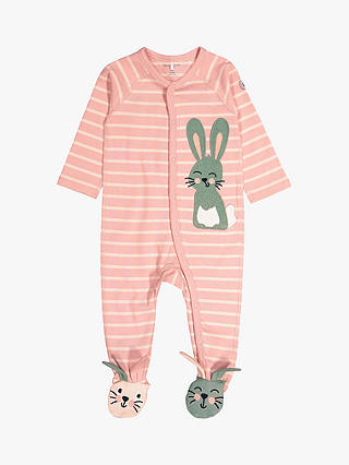 Buy Polarn O. Pyret Baby Stripe Rabbit Overall, Pink, 0-1 months Online at johnlewis.com