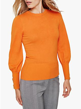 Damsel in a Dress Peyton Button Sleeve Jumper, Burnt Orange