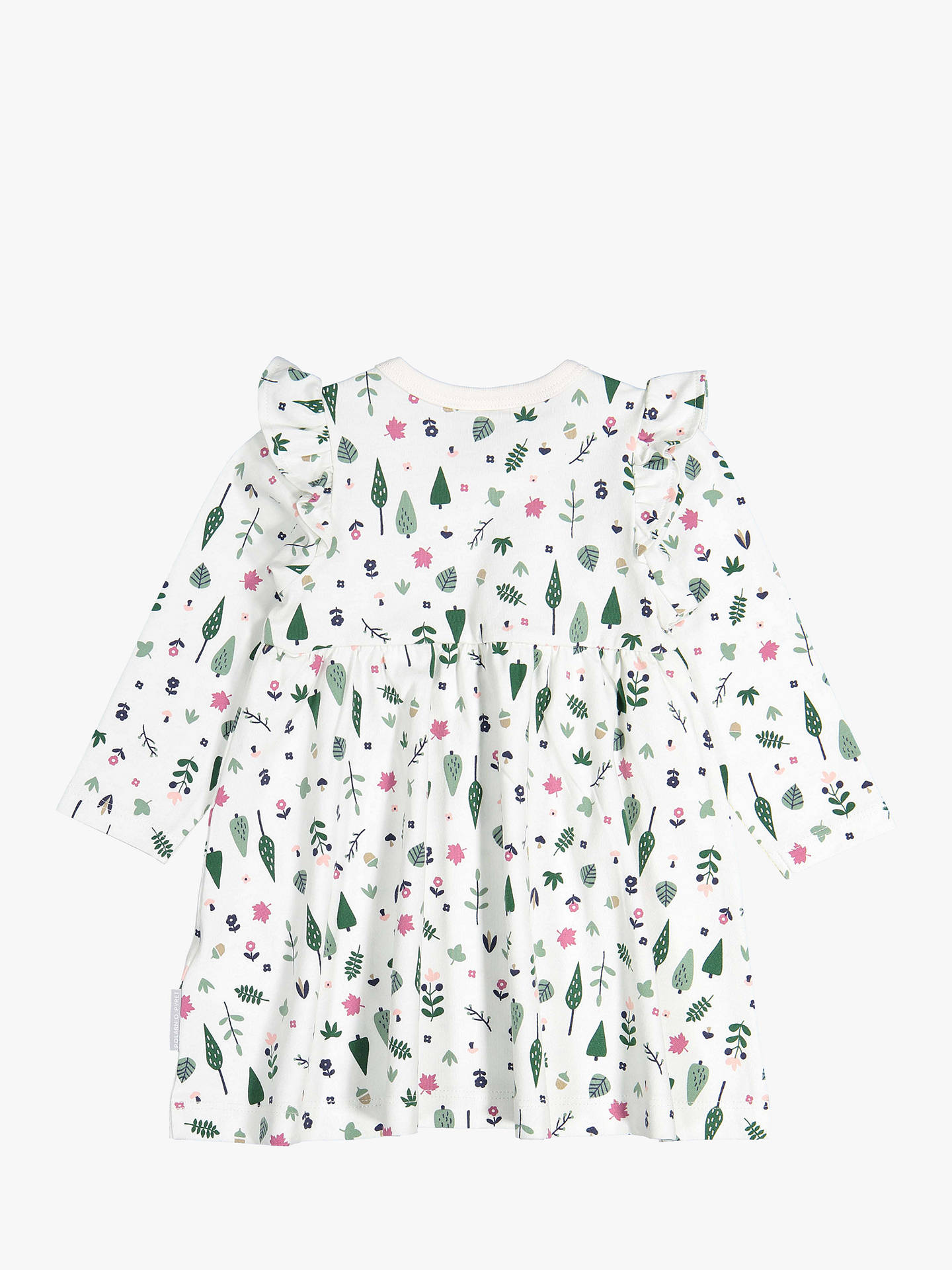 BuyPolarn O. Pyret Baby GOTS Organic Cotton Forest Print Dress, Neutral, 0-1 month Online at johnlewis.com