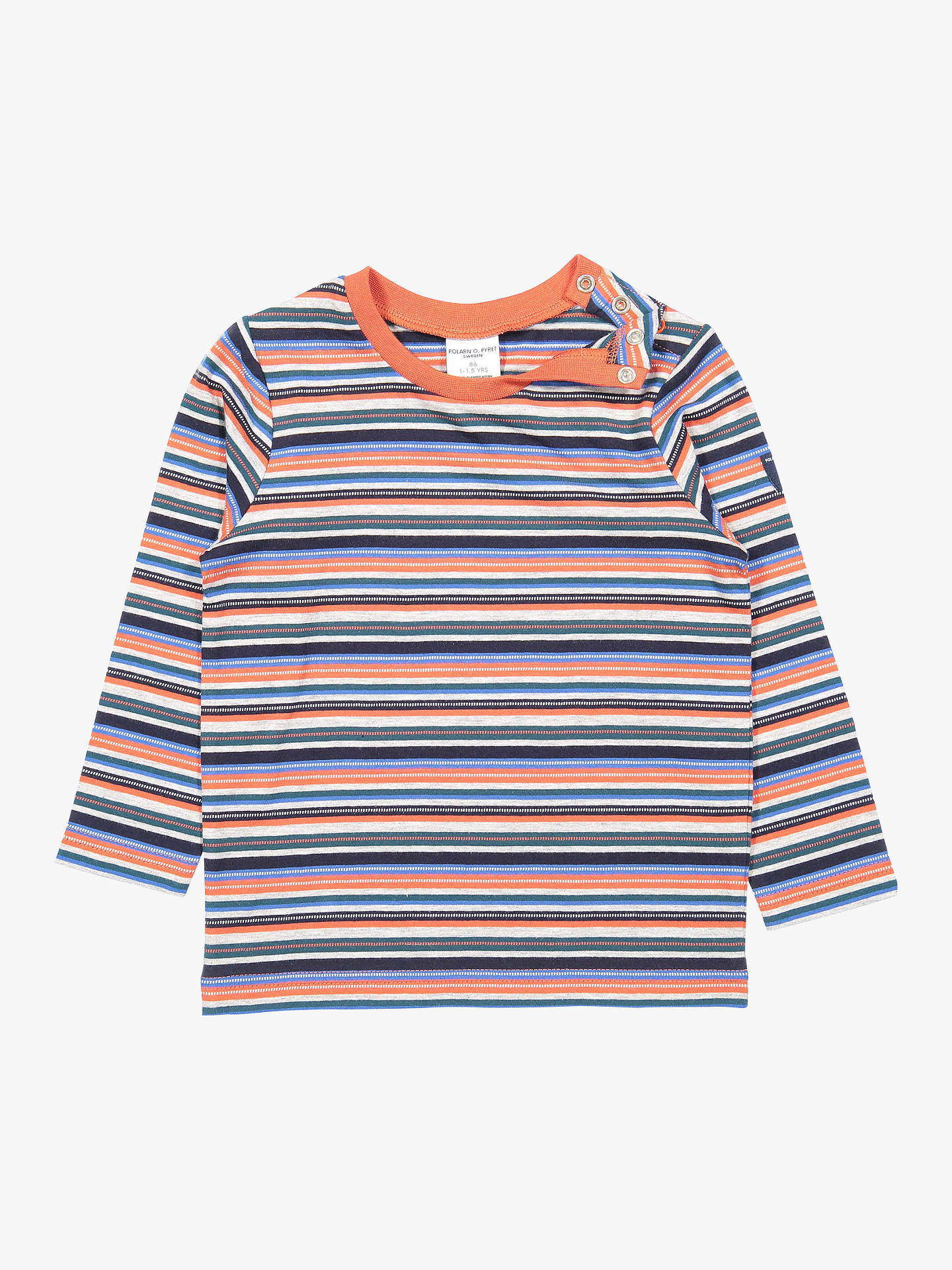 Buy Polarn O. Pyret Baby GOTS Organic Cotton Stripe Long Sleeve Top, Orange, 18-24 months Online at johnlewis.com