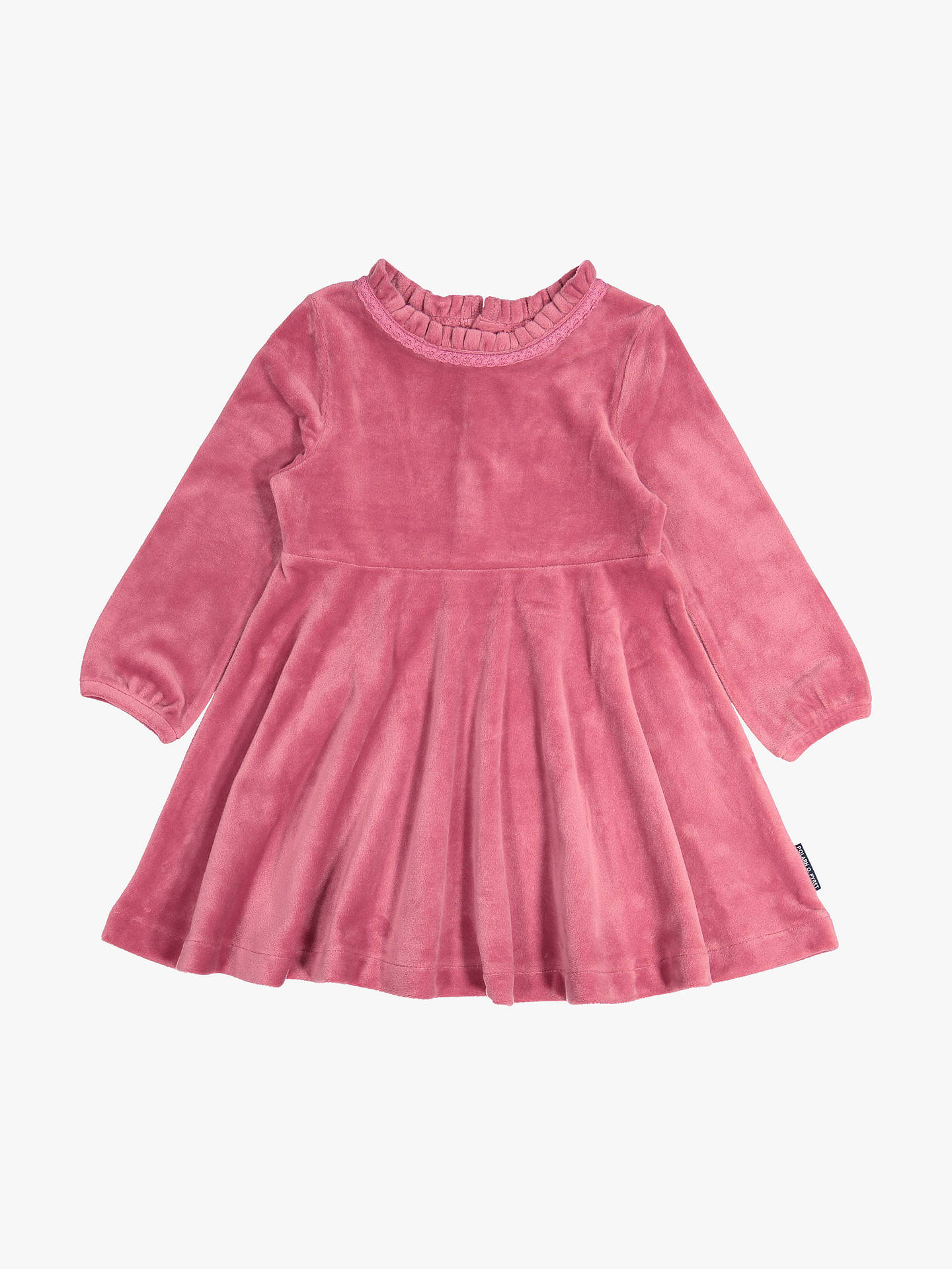BuyPolarn O. Pyret Baby Velour Dress, Pink, 6-9 months Online at johnlewis.com