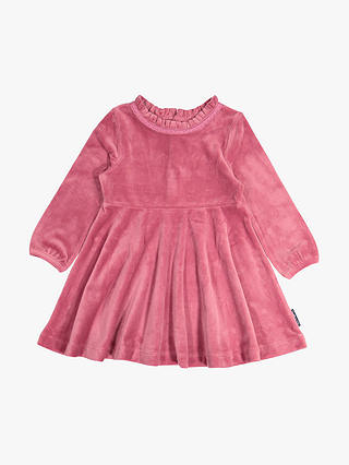 Buy Polarn O. Pyret Baby Velour Dress, Pink, 6-9 months Online at johnlewis.com