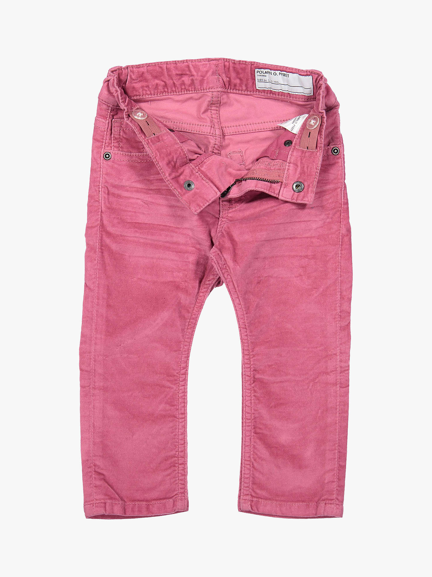 BuyPolarn O. Pyret Baby Velvet Trousers, Pink, 6-9 months Online at johnlewis.com
